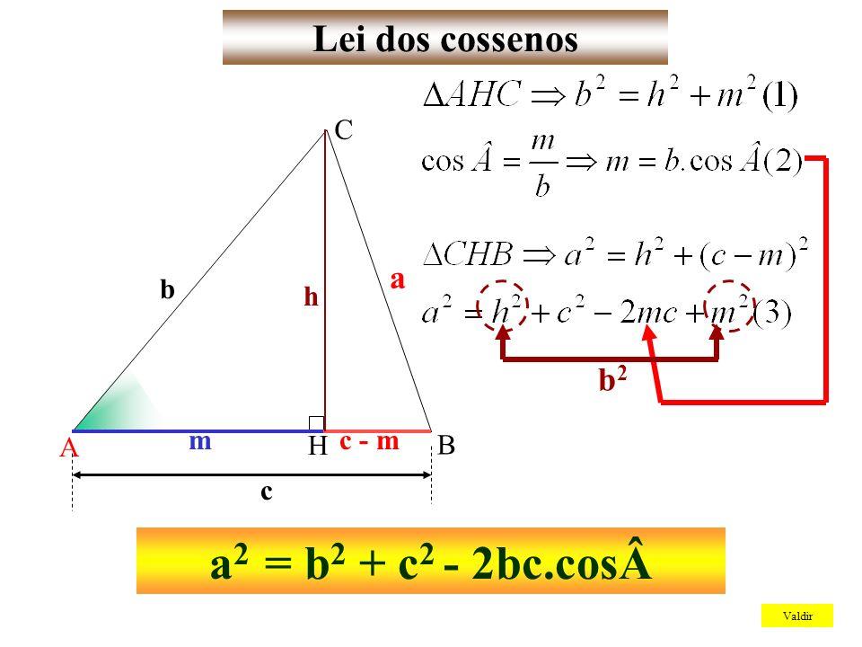a2 = b2 + c2 - 2bc.cosLei dos cossenos a b2 A B C b h H m c - m c