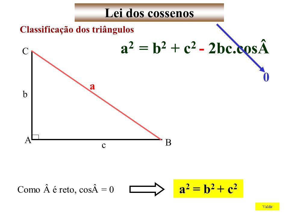 a2 = b2 + c2 - 2bc.cosLei dos cossenos a2 = b2 + c2 a