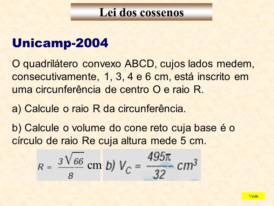 Lei dos cossenos Unicamp-2004 cm