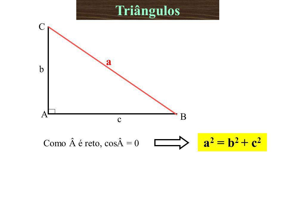 Triângulos A B C b c a Como é reto, cos= 0 a2 = b2 + c2