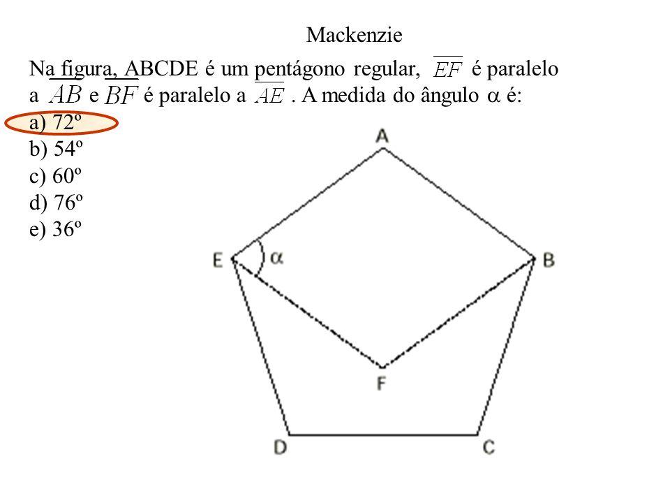 Mackenzie Na figura, ABCDE é um pentágono regular, é paralelo. a e é paralelo a . A medida do ângulo  é: