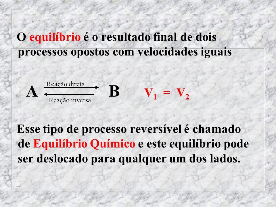 O equilíbrio é o resultado final de dois processos opostos com velocidades iguais