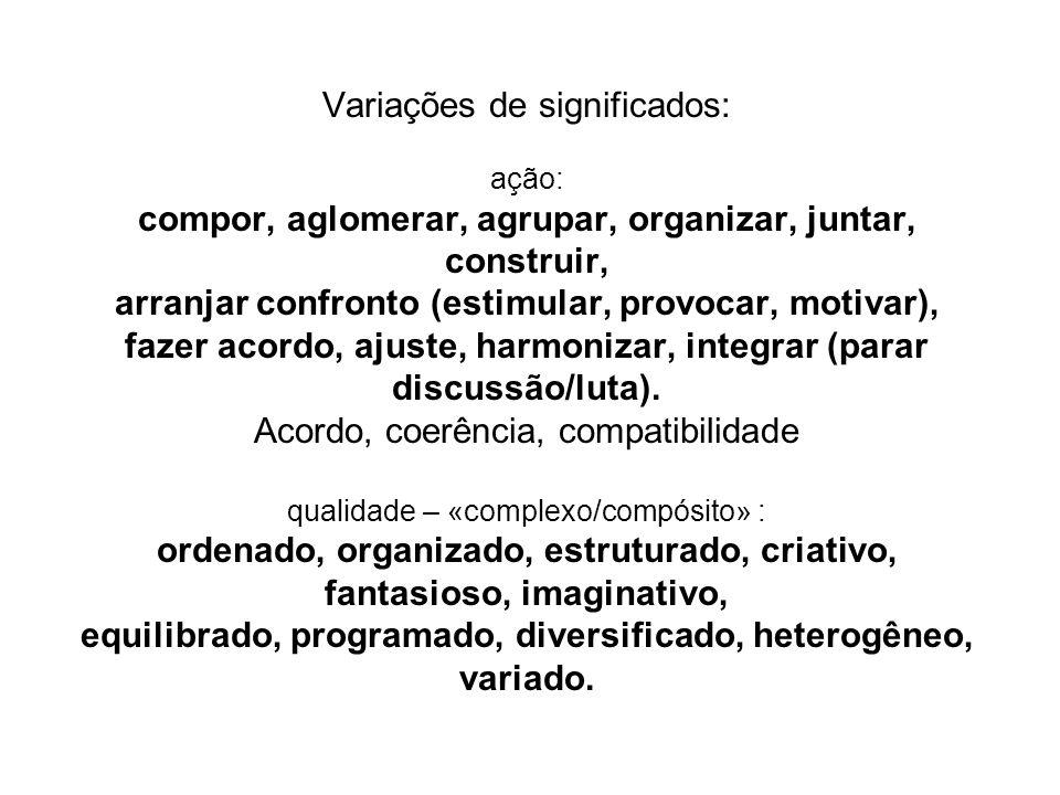 Variações de significados: ação: compor, aglomerar, agrupar, organizar, juntar, construir, arranjar confronto (estimular, provocar, motivar), fazer acordo, ajuste, harmonizar, integrar (parar discussão/luta).