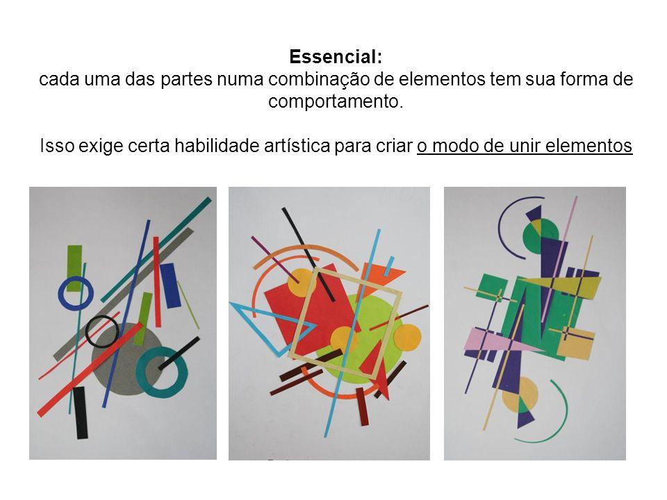 Essencial: cada uma das partes numa combinação de elementos tem sua forma de comportamento.