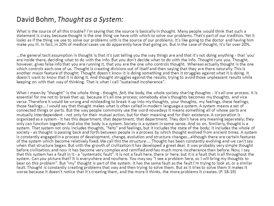 David Bohm, Thought as a System: