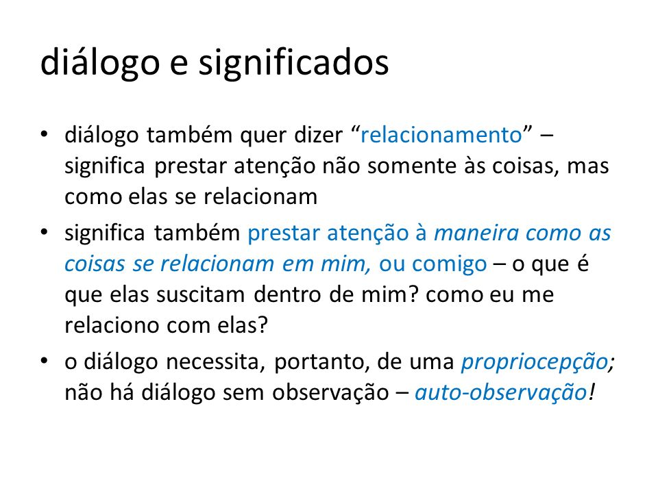 diálogo e significados