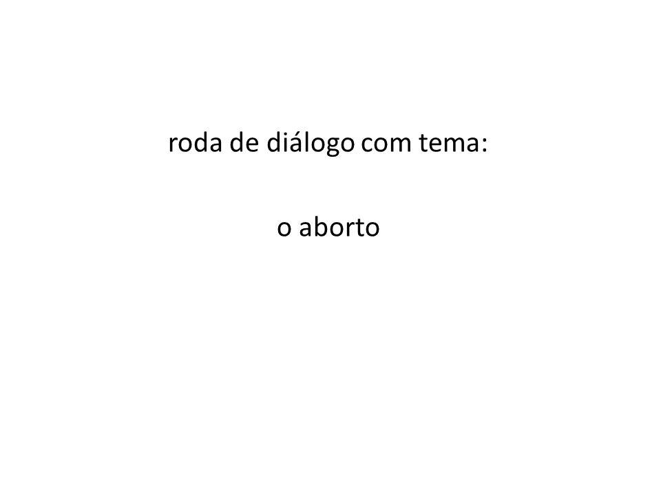 roda de diálogo com tema: o aborto