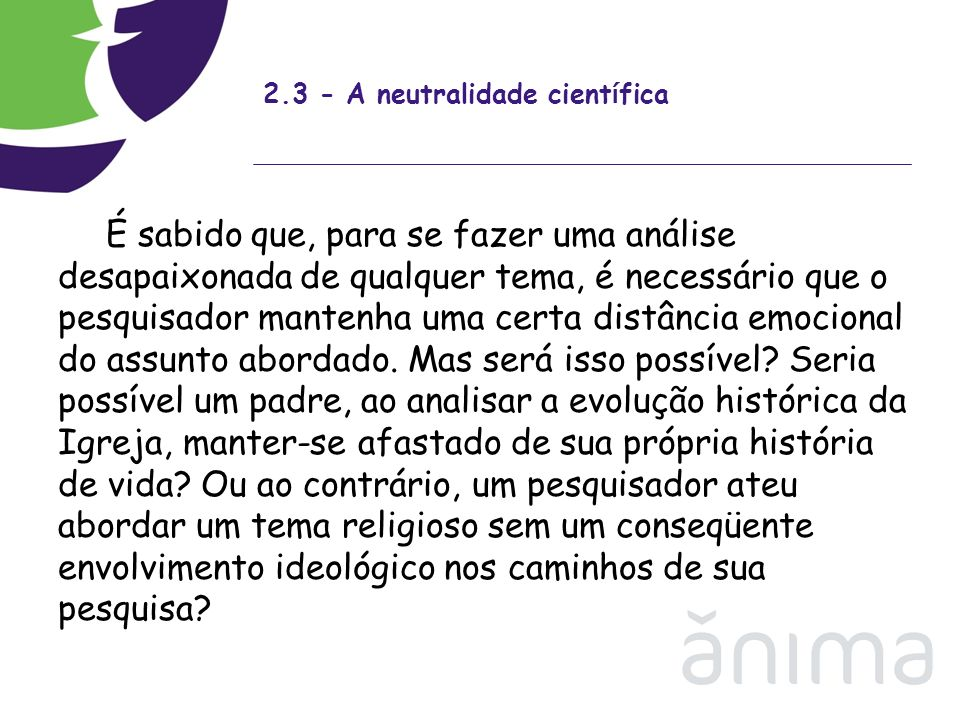 2.3 - A neutralidade científica