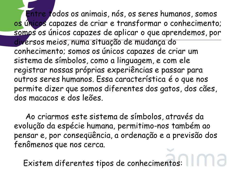Entre todos os animais, nós, os seres humanos, somos os únicos capazes de criar e transformar o conhecimento; somos os únicos capazes de aplicar o que aprendemos, por diversos meios, numa situação de mudança do conhecimento; somos os únicos capazes de criar um sistema de símbolos, como a linguagem, e com ele registrar nossas próprias experiências e passar para outros seres humanos. Essa característica é o que nos permite dizer que somos diferentes dos gatos, dos cães, dos macacos e dos leões. Ao criarmos este sistema de símbolos, através da evolução da espécie humana, permitimo-nos também ao pensar e, por conseqüência, a ordenação e a previsão dos fenômenos que nos cerca.