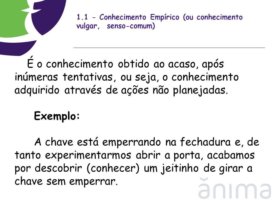1.1 - Conhecimento Empírico (ou conhecimento vulgar, senso-comum)