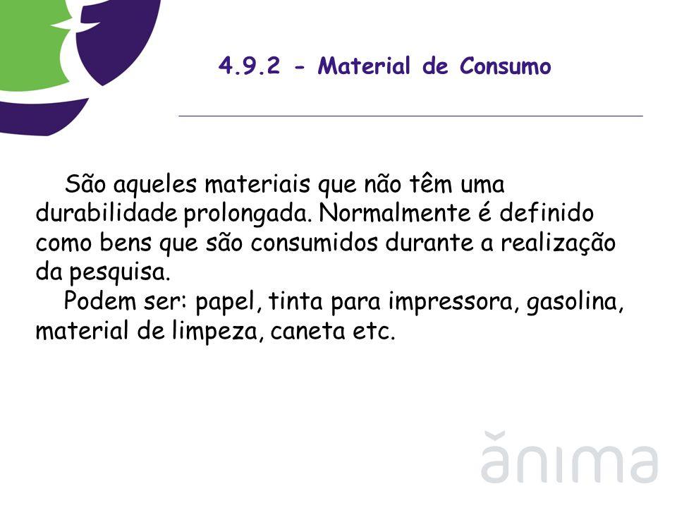 4.9.2 - Material de Consumo