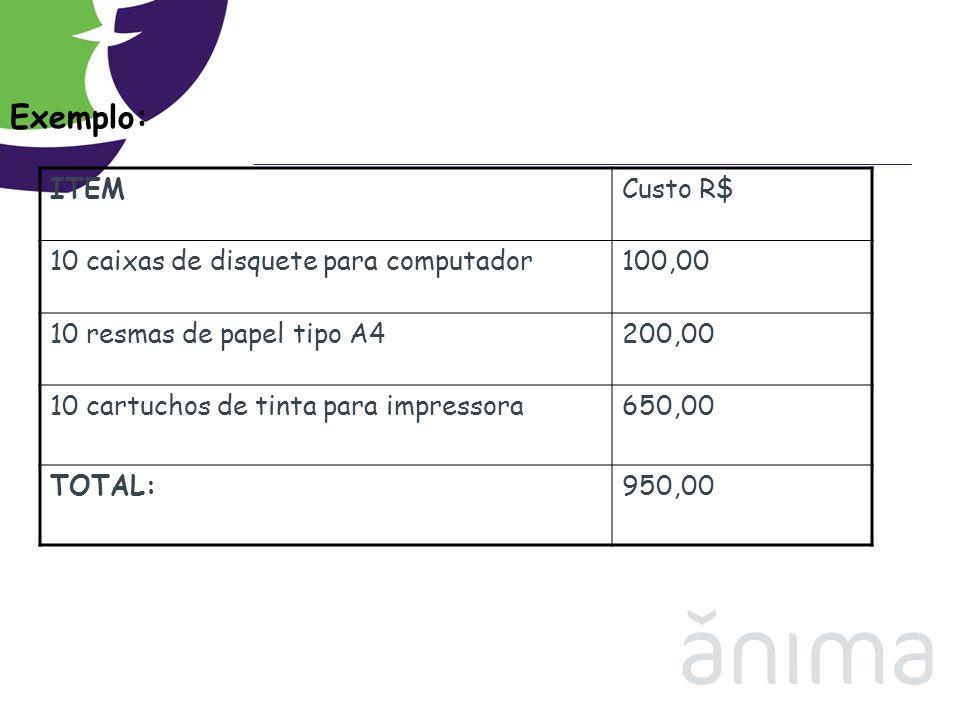 Exemplo: ITEM Custo R$ 10 caixas de disquete para computador 100,00
