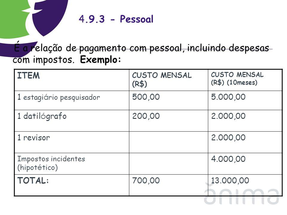 4.9.3 - Pessoal ITEM 1 estagiário pesquisador 500,00 5.000,00