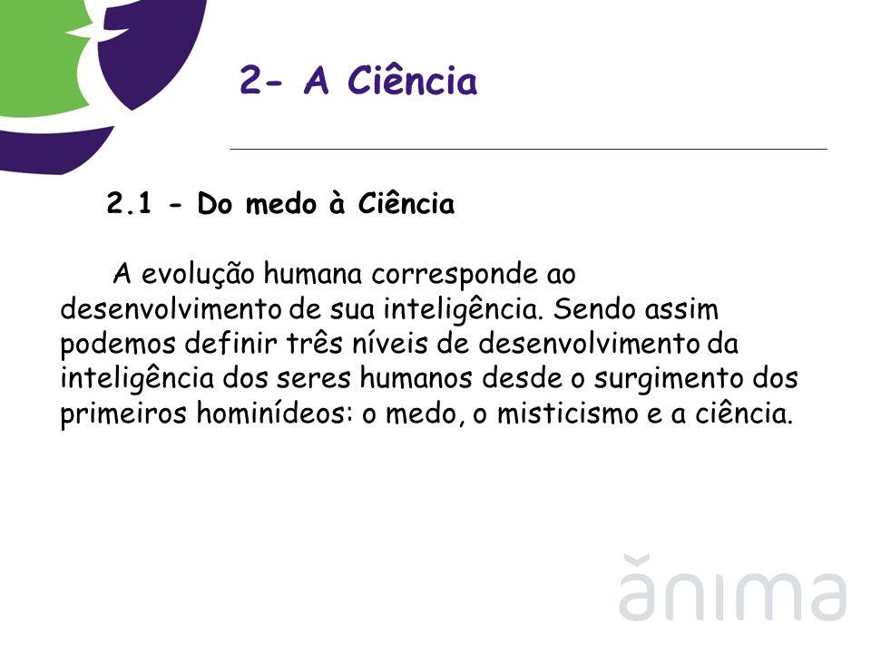 2- A Ciência 2.1 - Do medo à Ciência.