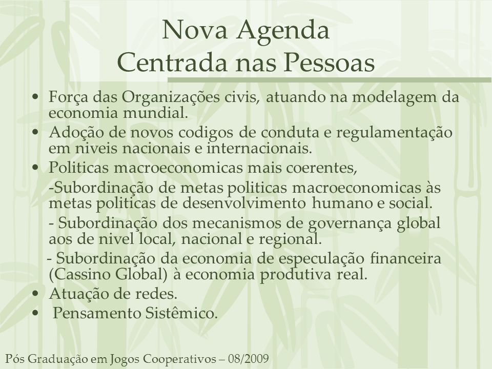 Nova Agenda Centrada nas Pessoas