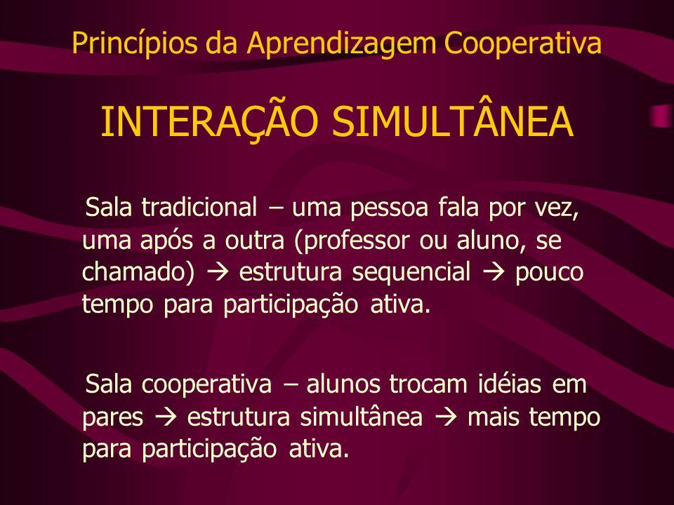 Princípios da Aprendizagem Cooperativa INTERAÇÃO SIMULTÂNEA