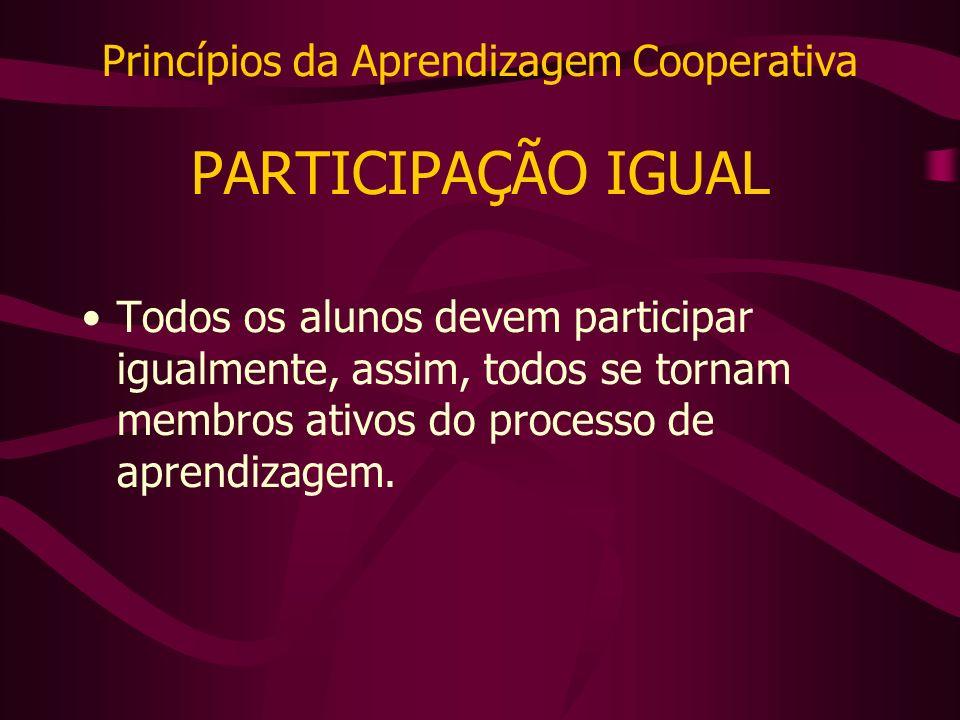 Princípios da Aprendizagem Cooperativa PARTICIPAÇÃO IGUAL