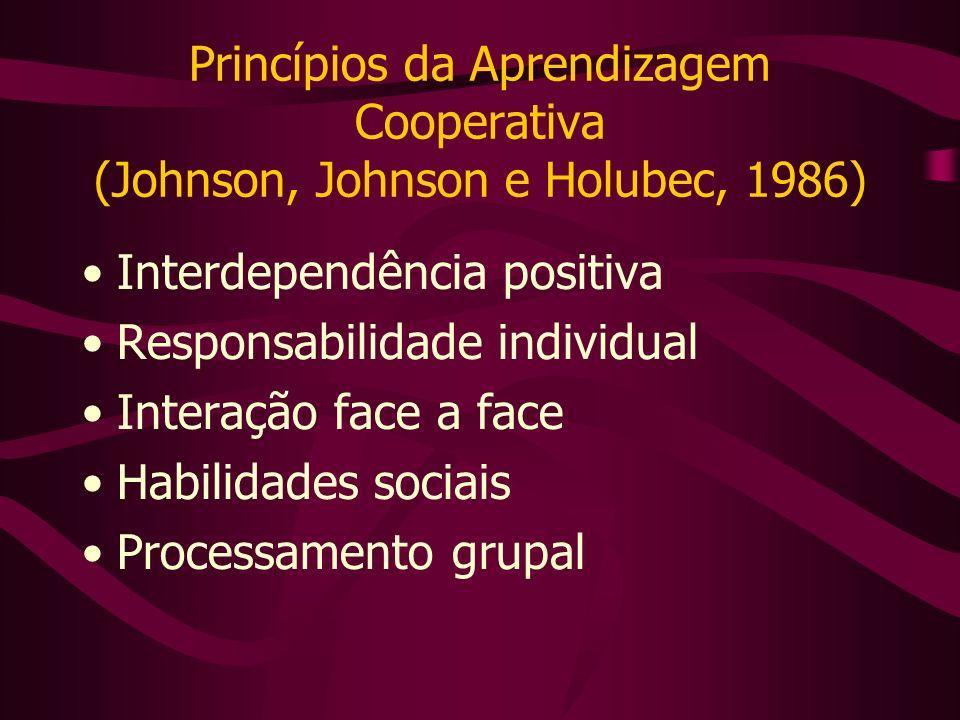Princípios da Aprendizagem Cooperativa (Johnson, Johnson e Holubec, 1986)