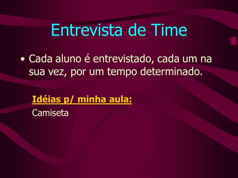 Entrevista de Time Cada aluno é entrevistado, cada um na sua vez, por um tempo determinado. Idéias p/ minha aula: