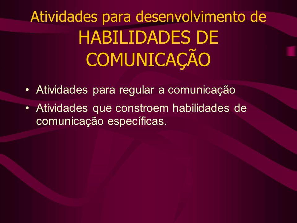 Atividades para desenvolvimento de HABILIDADES DE COMUNICAÇÃO