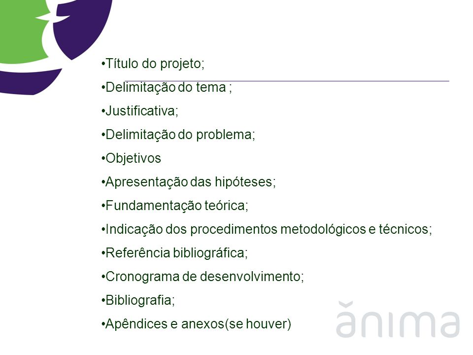 Título do projeto; Delimitação do tema ; Justificativa; Delimitação do problema; Objetivos. Apresentação das hipóteses;