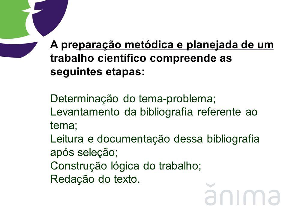 A preparação metódica e planejada de um trabalho científico compreende as seguintes etapas: