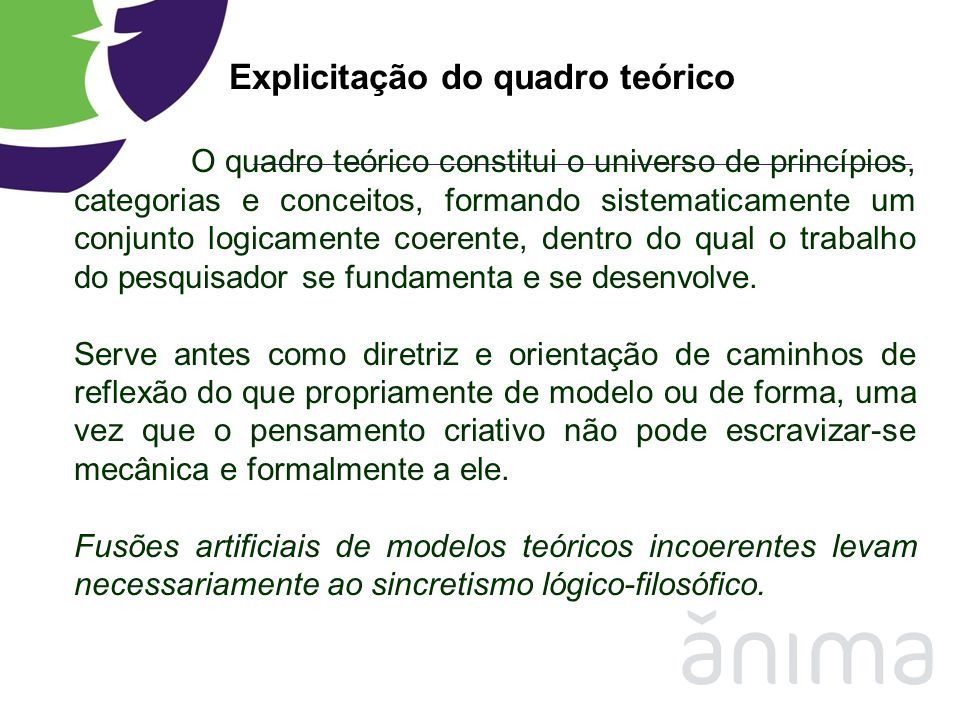 Explicitação do quadro teórico