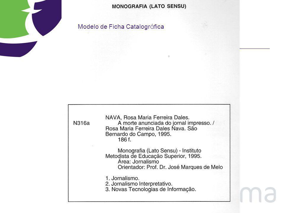 Modelo de Ficha Catalográfica