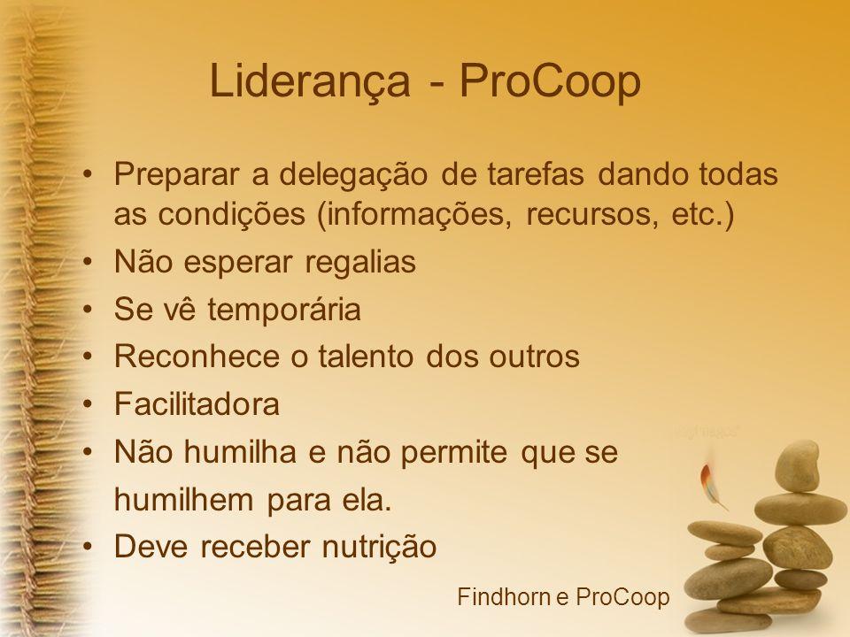 Liderança - ProCoop Preparar a delegação de tarefas dando todas as condições (informações, recursos, etc.)