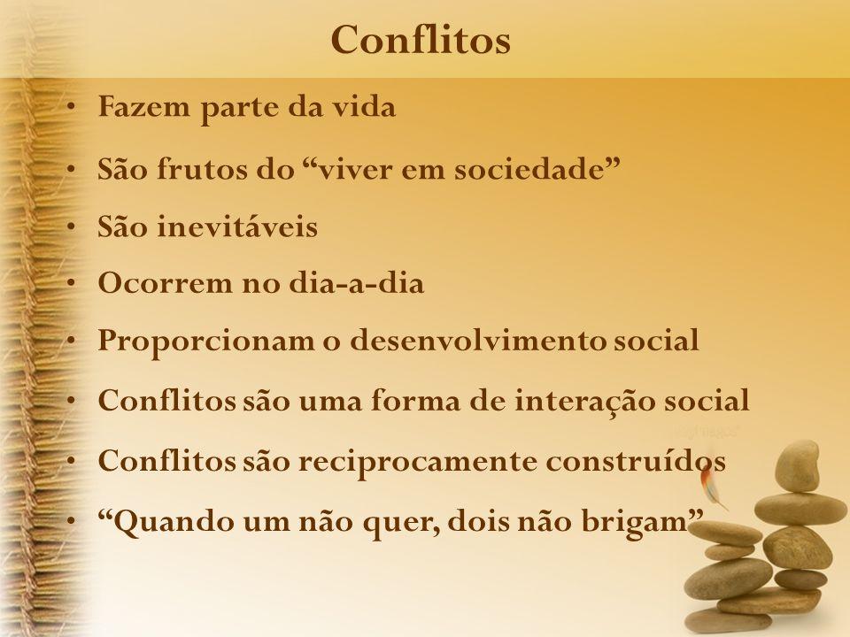 Conflitos Fazem parte da vida São frutos do viver em sociedade