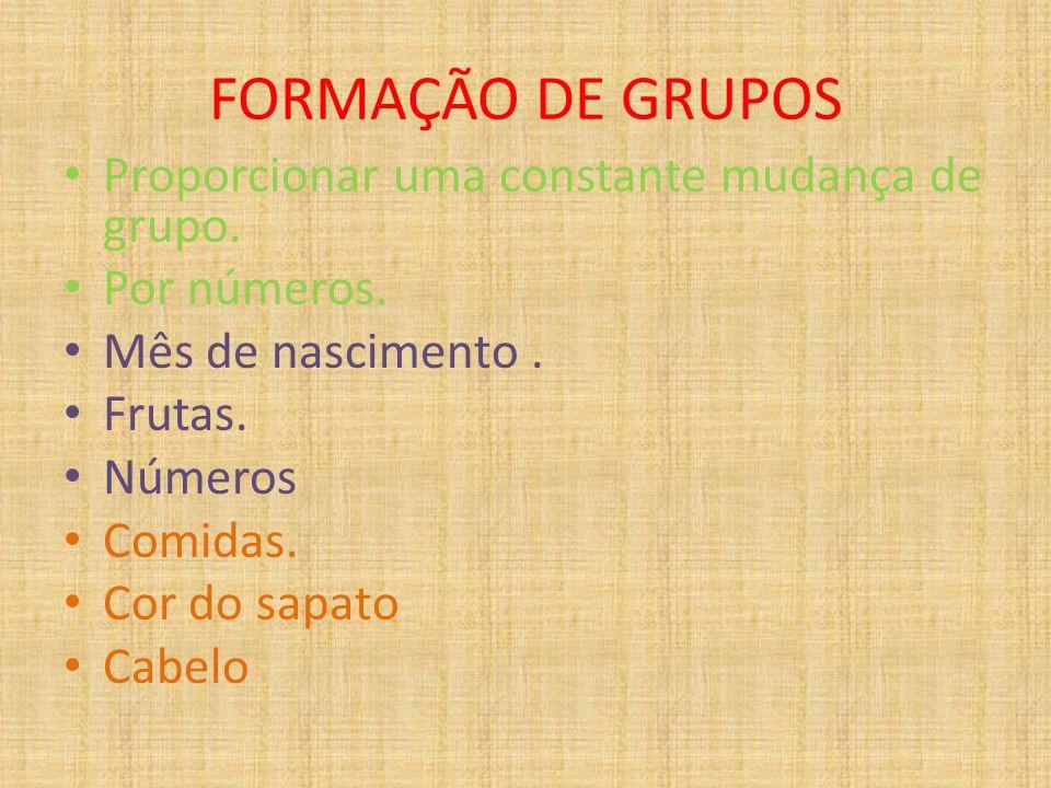 FORMAÇÃO DE GRUPOS Proporcionar uma constante mudança de grupo.