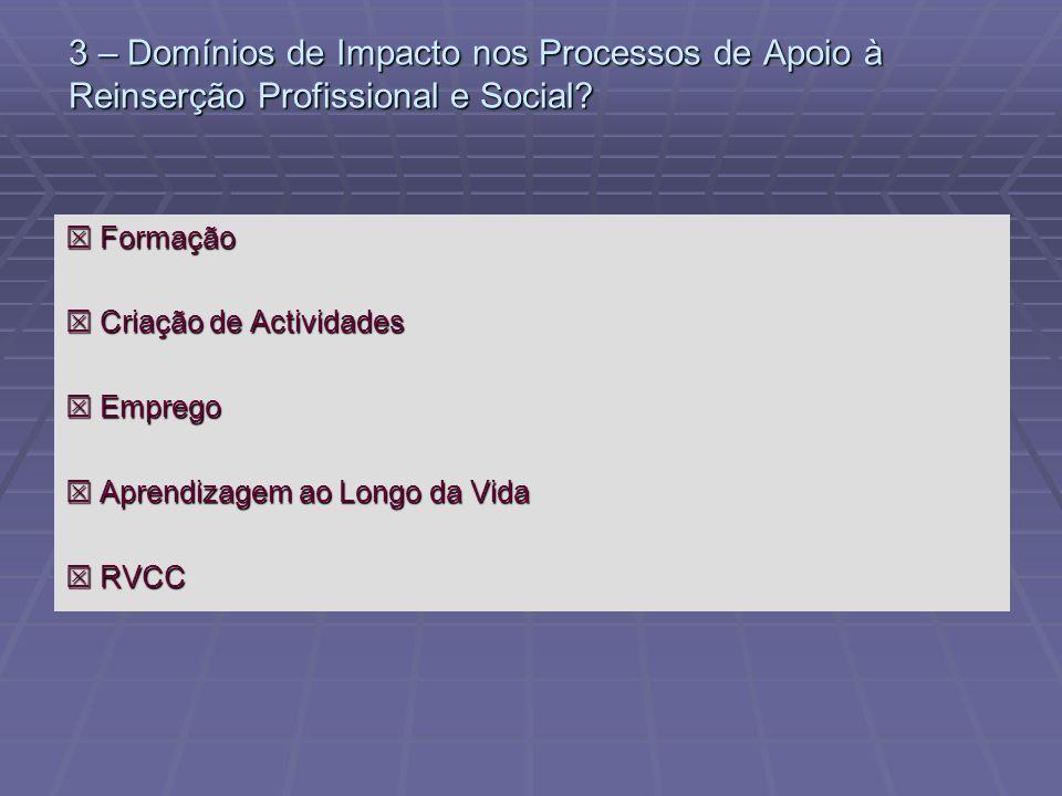 3 – Domínios de Impacto nos Processos de Apoio à Reinserção Profissional e Social