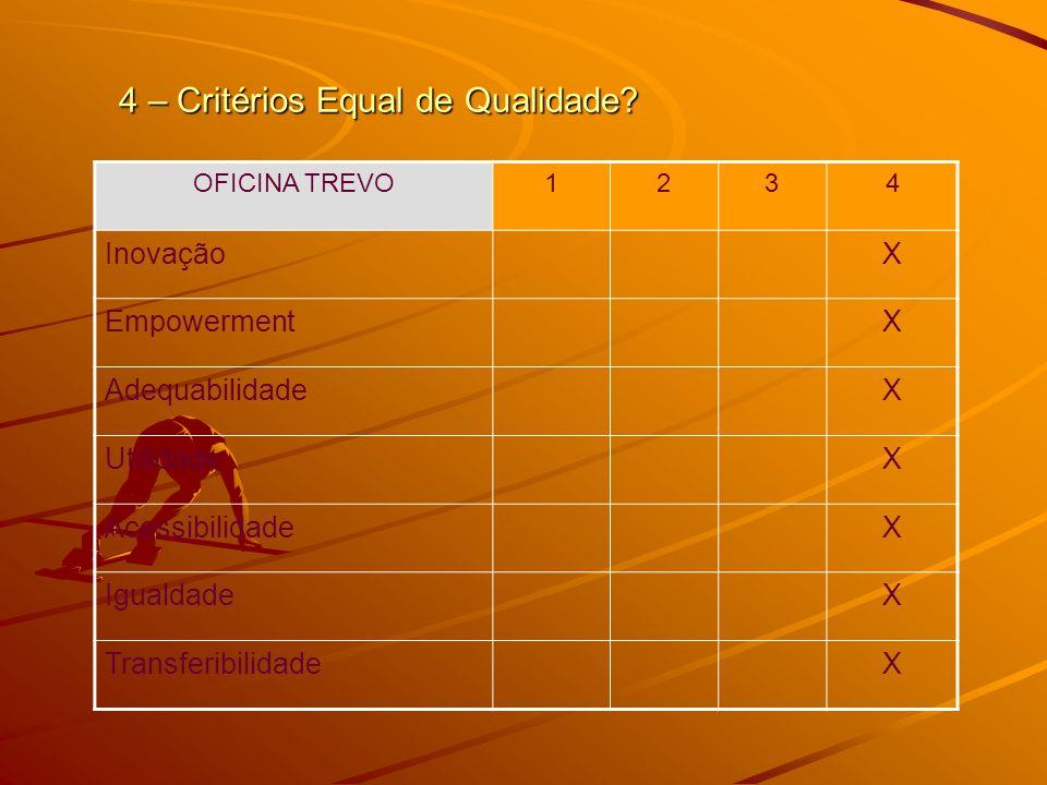 4 – Critérios Equal de Qualidade