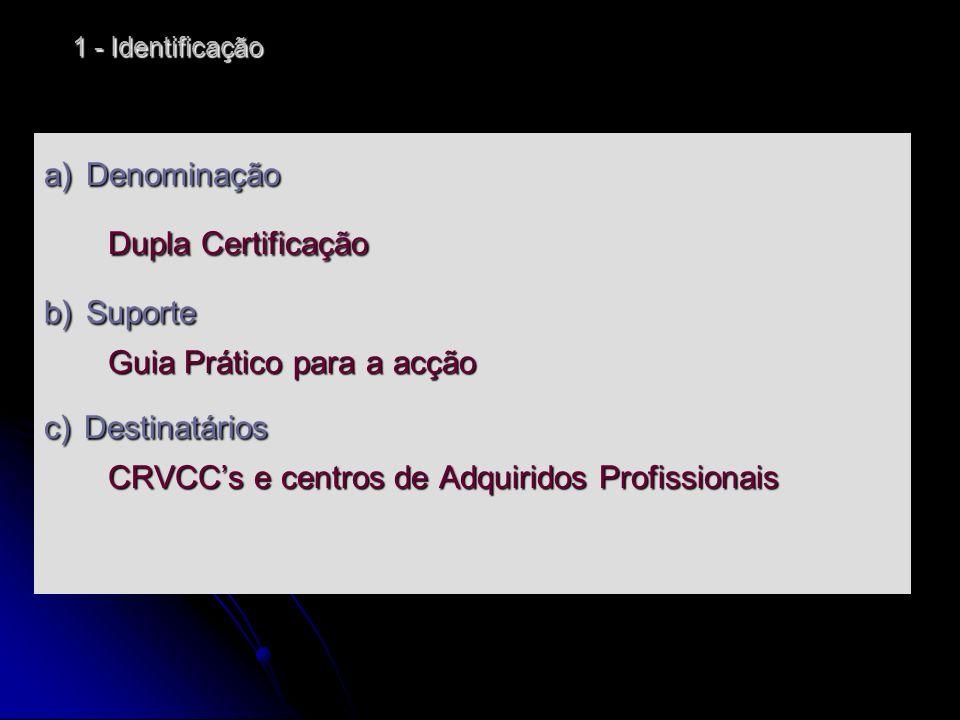 Dupla Certificação a) Denominação b) Suporte Guia Prático para a acção