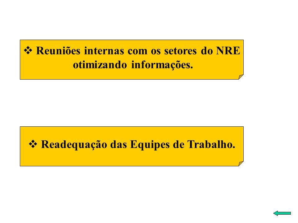 Reuniões internas com os setores do NRE otimizando informações.