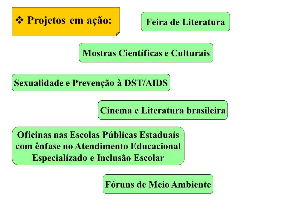 Projetos em ação: Feira de Literatura Mostras Científicas e Culturais