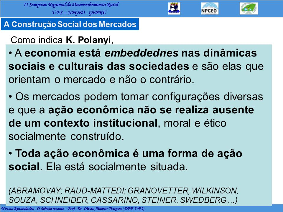A Construção Social dos Mercados