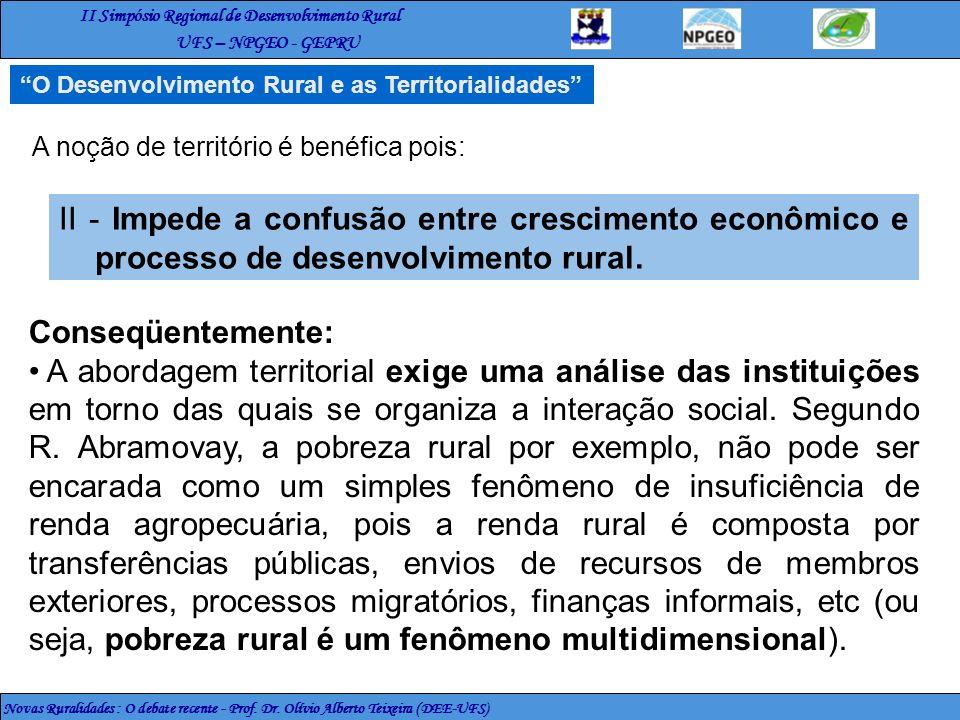 O Desenvolvimento Rural e as Territorialidades