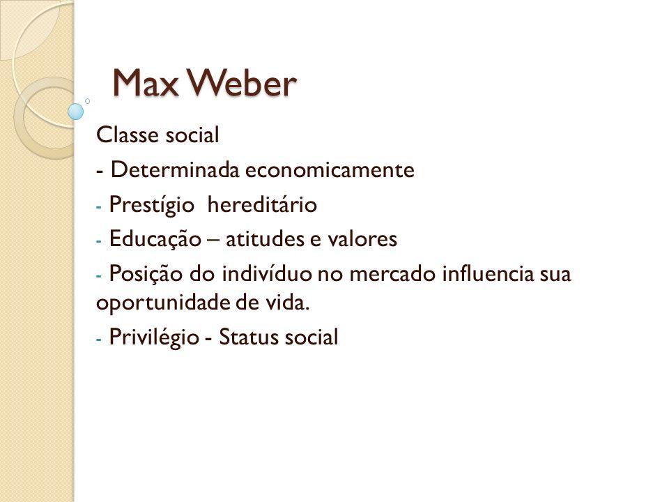 Max Weber Classe social - Determinada economicamente