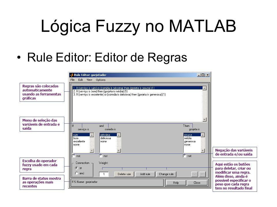 Lógica Fuzzy no MATLAB Rule Editor: Editor de Regras