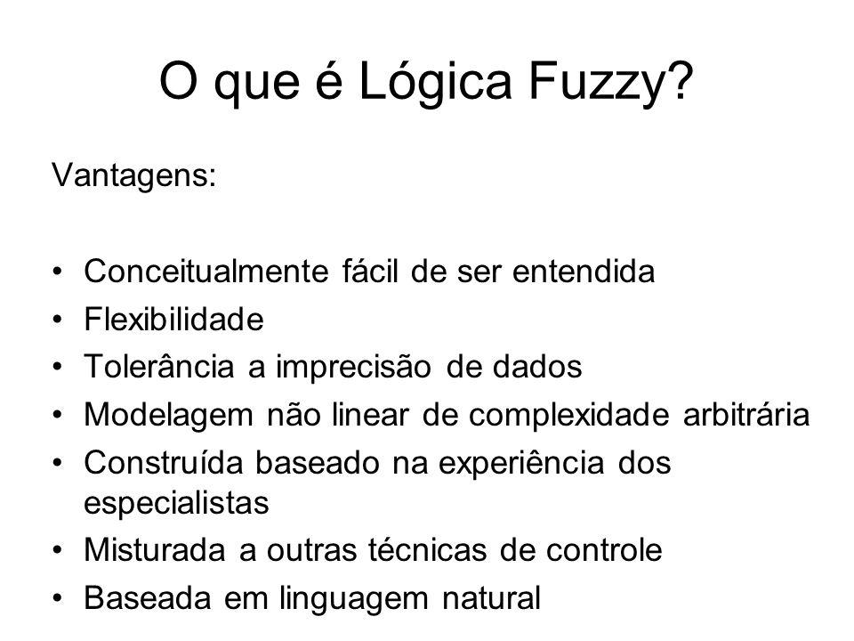 O que é Lógica Fuzzy Vantagens: