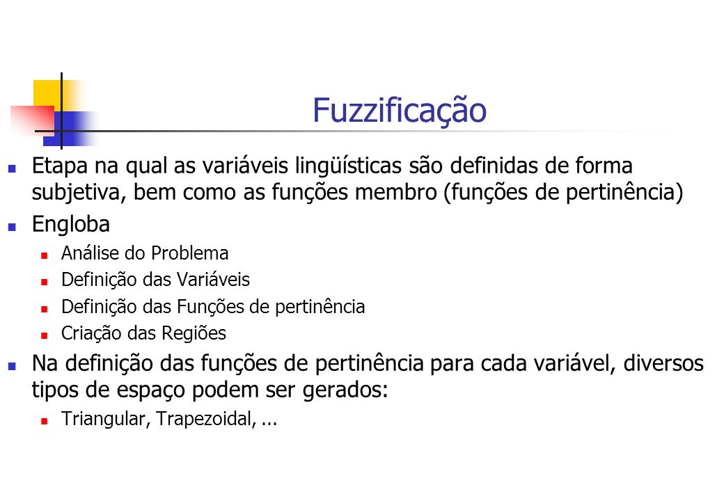 Fuzzificação Etapa na qual as variáveis lingüísticas são definidas de forma subjetiva, bem como as funções membro (funções de pertinência)