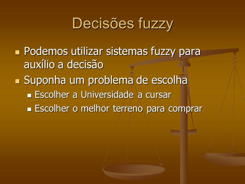 Decisões fuzzy Podemos utilizar sistemas fuzzy para auxílio a decisão