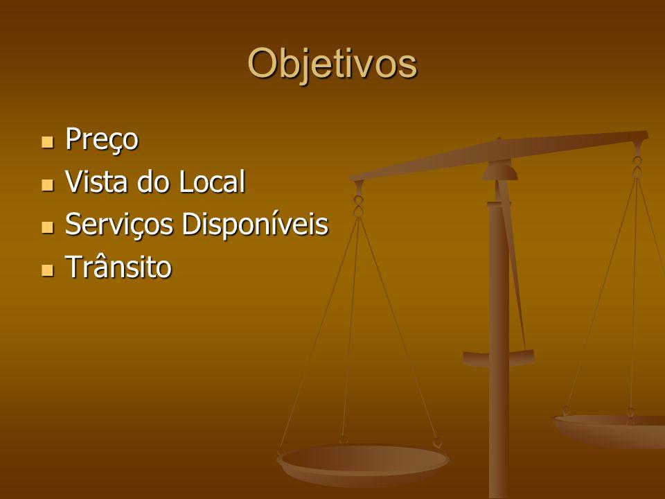 Objetivos Preço Vista do Local Serviços Disponíveis Trânsito