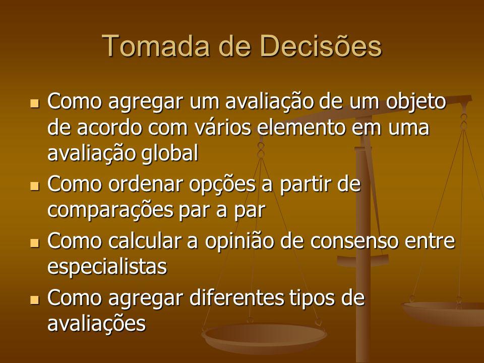 Tomada de Decisões Como agregar um avaliação de um objeto de acordo com vários elemento em uma avaliação global.