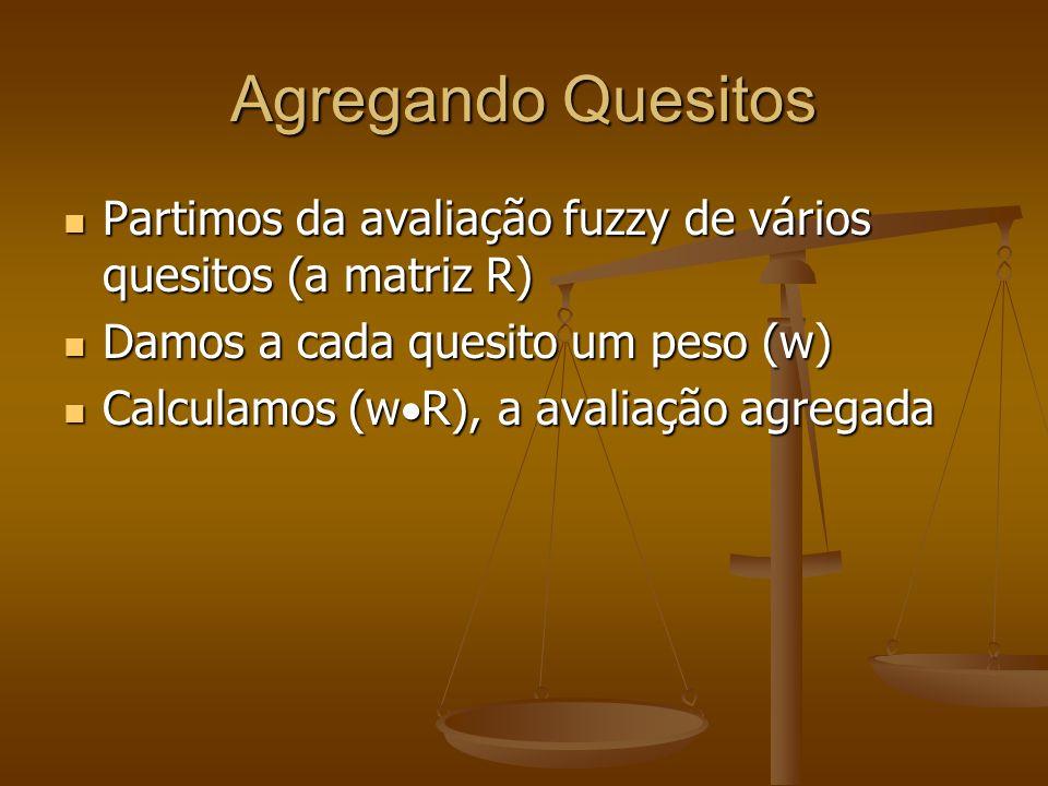 Agregando Quesitos Partimos da avaliação fuzzy de vários quesitos (a matriz R) Damos a cada quesito um peso (w)