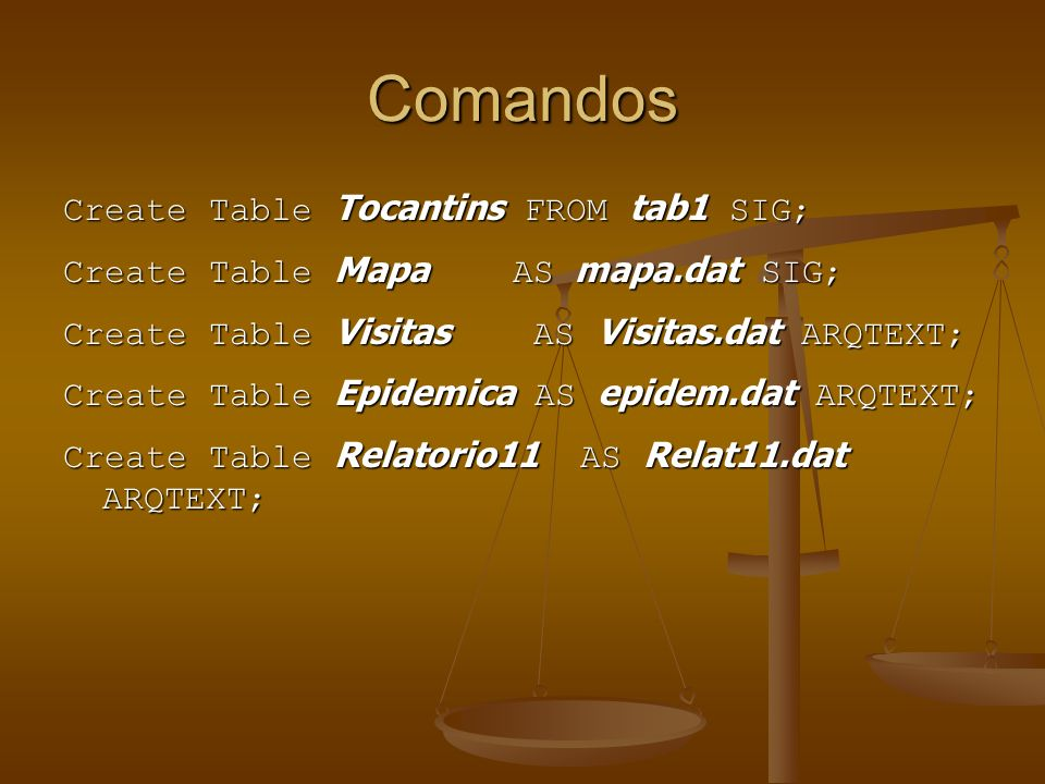 Comandos Create Table Tocantins FROM tab1 SIG;