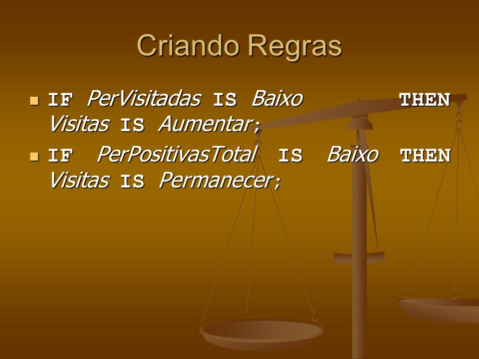 Criando Regras IF PerVisitadas IS Baixo THEN Visitas IS Aumentar;