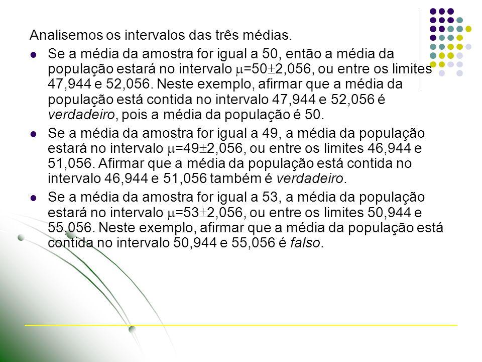 Analisemos os intervalos das três médias.