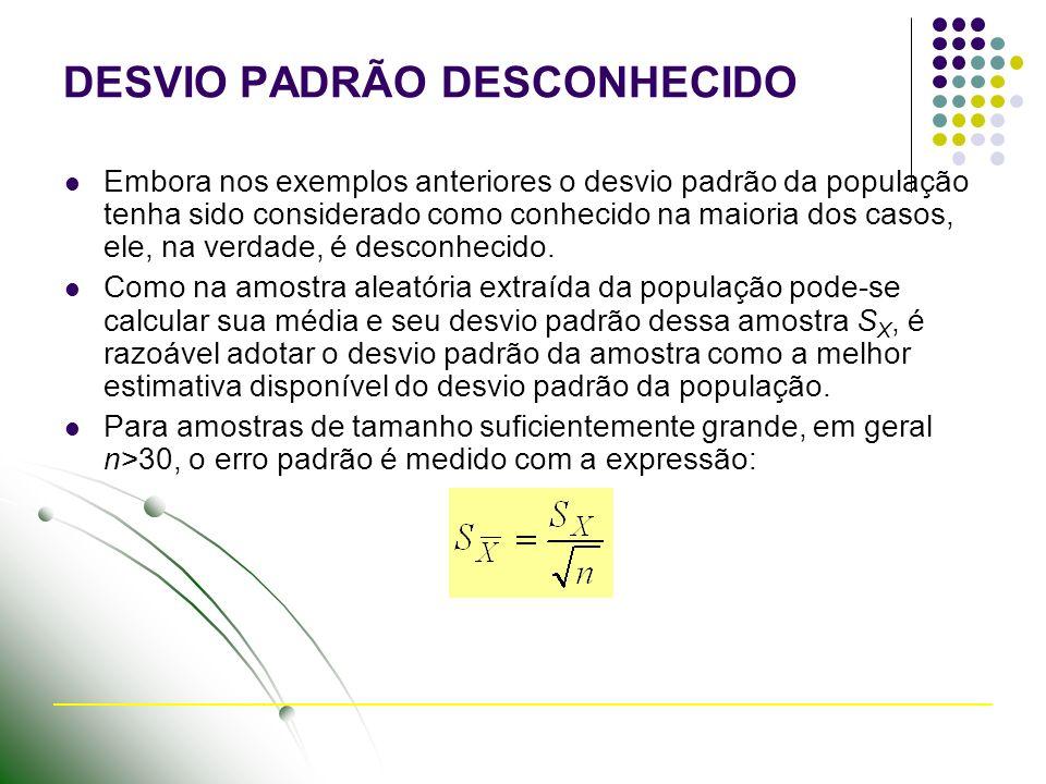 DESVIO PADRÃO DESCONHECIDO